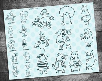 Creature stamps, monster stamps, quirky stamps, cute stamps, rubber stamps, unmounted, Starving Artistamps