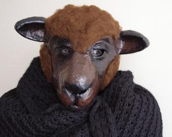 Masquerade mask sheep mask animal mask paper mache mask papier mache sheep mask