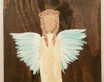 Earth Angel my Guardian Dear, hand painted Angels, Personalised Guardian Angel, child's room, Memorial, yellow blue brown hair