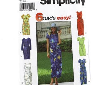 Classic Mock Wrap Skirt Dress Sewing Pattern, Uncut Sewing Pattern, Simplicity 8070, Size 18-22