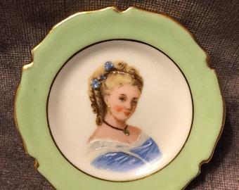 Limoges France miniature portrait cameo plate