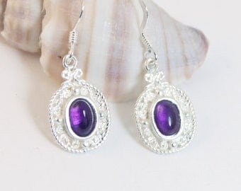 Amethyst Earrings, Dangle Earrings, Sterling Silver, Amethyst, Drop Earrings, Gemstone Earrings, Silver Earrings, Purple Earrings