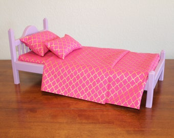 "American Girl bed, Lavender AG bed, AG doll Furniture, 18 inch doll furniture, 18"" doll bed, 18 inch doll bed, 18"" bed, doll bed, wood bed"