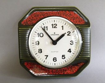 Junghans - West Germany Quality Mid Century Modern stylish Ceramic Vintage Wallclock  In red green colours..