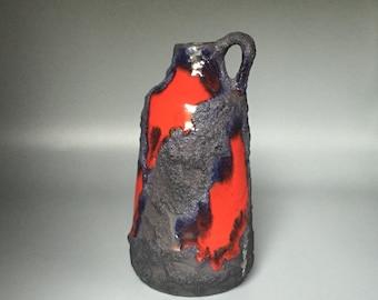 Marei Keramik Mid Century Modern  1970s stunning Red / Black  handled vintage vulcanic Fat Lava vase   West Germany ceramic. WGP.