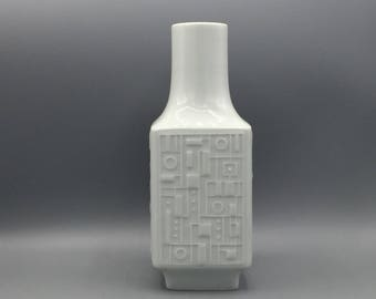 Wunsiedel Bavaria  square Op Art relief white porcelain Vase, height 25 cm.  West Germany 1960s / 1970s Mid Century Modern.