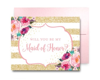 Will You Be My Bridesmaid Card, Bridesmaid Maid of Honor Gift, Will You Be My Maid of Honor, Matron of Honor, Brides Man, Flower Girl #CL224
