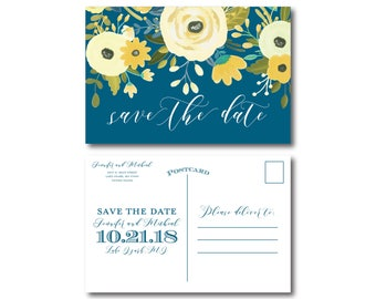 Floral Wedding Save the Date, Yellow and Blue Save the Date, Floral Wedding, Spring Wedding, Save the Date, Wedding Postcard #CL337
