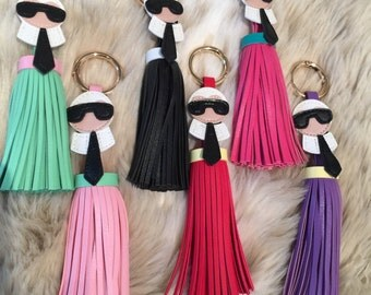 New Colours Added! ...Leather Tassle Karl Lagerfeld key chain only 1 left of each colour