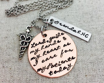 Custom Nurse Necklace- Nurse's Prayer- Hand Stamped Copper-Stainless Steel-Caduceus Charm- Necklace-Key Ring- RN-Medical-Caregiver-CNA