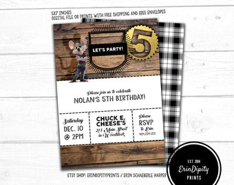 Chuck E. Cheese Invitation (Digital File or Prints with Envelopes) (FREE Shipping) (ALL Wording can be changed)