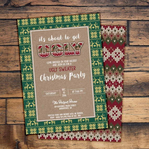 Ugly Sweater Christmas Party Invitation Digital File or