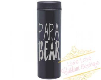 Papa Bear Engraved Stainless steel 16 oz Coffee To go Cup Tea Thermos Insulated travel mug Gift for Dad Papa Him Papa Bear Cup Papa Bear Mug