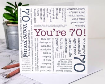 70th Birthday Card; 'You're 70!'; Happy 70th; 70 Year Old Card; Card For Grandpa; GC074