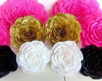 10 large paper flowers giant paper flowers bridal kate shower spade baby shower Hot pink gold black white flowers wedding bakdrop Paper wall