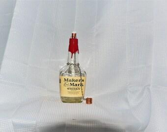 Recycled Makers Mark Liquor Bottle Oil Lamp