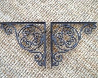 "A pair of antique style swirl cast iron shelf brackets 9"" x 9 1/2"" AL28"