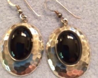 Vintage Sterling Silver & Black Onyx Oval Cabs - Southwest Design Hammered Dangle Earrings