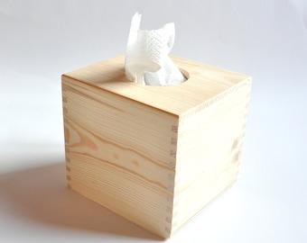Wooden Tissue Box. Unfinished Wood Box. Handkerchief Box. Decoupage Box. Home Decor #200