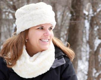 Fur Dress Hat, Fuax Fur Hat, Warm Hat, Dress Hat, Cream Faux Fur, Black Faux Fur, Cream Rabbit Faux Fur Hat, polar mitts hat, polarmitts