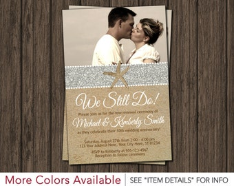 Beach Vow Renewal Invitation - Wedding Vow Renewal Invitations