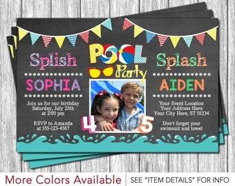 Pool Party Birthday Invitation - Water Party, Splish Splash Birthday Invitations, Summer, Kids
