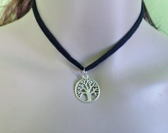 black fabric witch tree pentacle necklace triskell tao