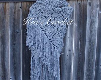 Ready to ship Crochet Shawl ,Crochet Lace Scarf,Crochet Bridal Scarf,Crochet Wrap,Crochet Lace Shawl ,Crochet Wrap,Grey Lace Scarf