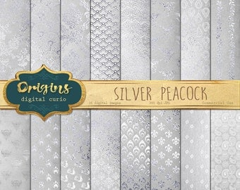 Silver Peacock Digital Paper, Peacock scrapbook paper, backgrounds, silver leaf foil overlay, white peacock feather digital paper