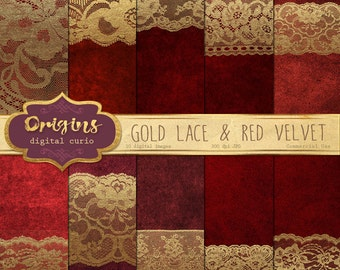 70% OFF Gold Lace and Red Velvet Digital Paper, Vintage Lace Backgrounds, gold Scrapbook paper pack digital instant download commercial use