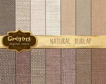 Natural Burlap Digital Paper, jute cloth neutral scrapbook paper, printable burlap textures earthtones, digital scrapbooking paper pack