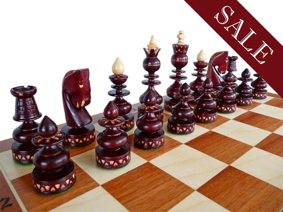 Unique Handmade Wooden Chess Set Marquetry Gift By