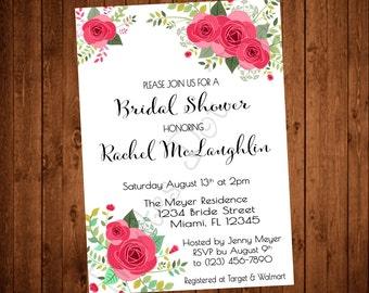 Vintage Flowers Bridal Shower Invite (Printable)