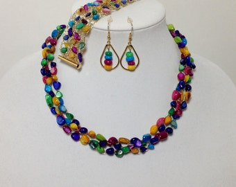 Multi Colored Mother of Pearl Shell, Non-Tarnish Gold Tone Wire, Wire Crochet, Necklace, Bracelet, Earrings