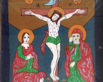 Framed Romanian Folk Art Cruxifixion.