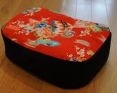 Vintage Kimino Meditation Cushion in Red/Ball and Floral Center with Organic buckwheat hull filling
