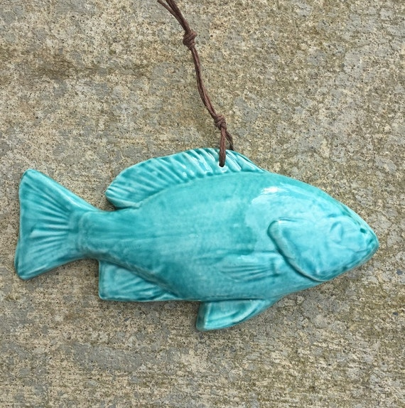 Ceramic Fish Art Tile -- Hand Cast Fish Art Tile Glazed in Turquoise