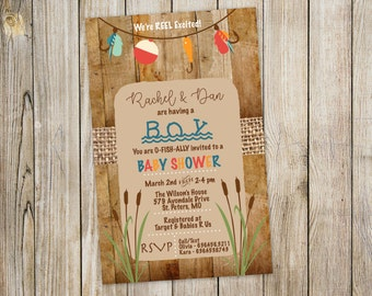 fishing baby shower invitation weu0027re reel excited wood rustic printed