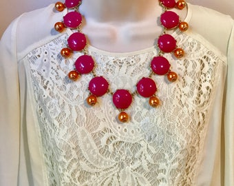 Spring Coral Peach and Fucshia Pink Bubble Bead Bib Statement Necklace