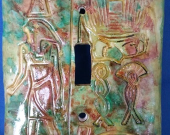 OOAK Egyptian Wall Mural Polymer Clay Switchplate / Light Switch Cover