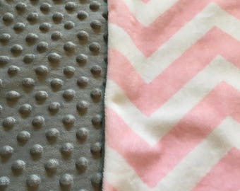 Personalized Baby Blanket,Pink Chevron Blanket,Handmade,Baby Gift,Pink and Gray Minky Baby Blanket,Monogrammed,Baby Gifts