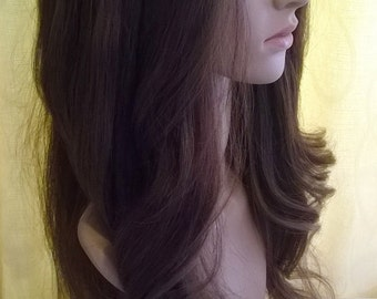 "Human hair wig- U part 3/4 ""Glamour"" hair addition, 18 inches long, extension, medium brown 6, choose size"