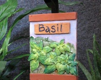 Basil herb garden marker