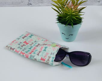 Sunglasses case, glasses case, reading glasses pouch, blutterfly case, gift for her, summer accessories, gift for teacher