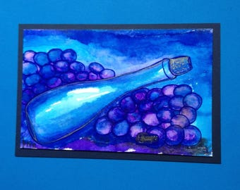 Wine & Grapes Watercolor