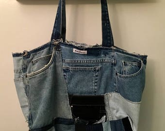 Upcycled Reclaimed Denim Blue Jean Slouchy Patchwork Neverfull Tote Bag Purse