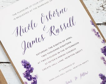 Lavender Wedding Invitation - Lavender Wedding Invites - Sample Pack or Deposit - Wedding Invitations by Pineapple
