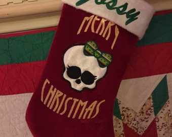 Monster High Custom Made Christmas Stocking - Personalized