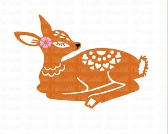 Deer svg/png/dxf cricut/silhouette digital cutting file/deer svg/folk style svg/woodland svg/deer download/folk art deer/doe svg/doe/HTV