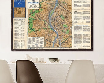"Map of Budapest 1938 Vintage Budapest map in 4 sizes up to 54x36"" (140x90 cm) Large old map of Budapest, Hungary - Limited Edition of 100"